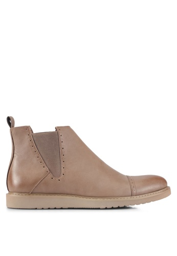 ZALORA brown Faux Leather Perforated Chelsea Boots 8346ESH4FD01D0GS_1