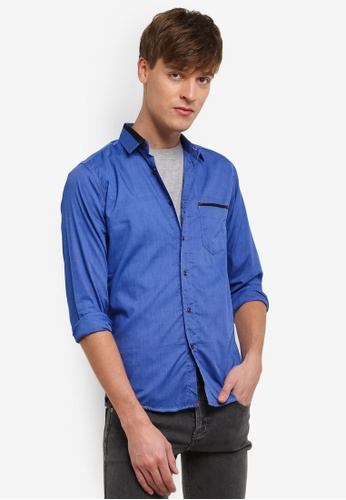 Fidelio 藍色 Sleek Smart Small Collar 長袖 襯衫 FI826AA0RSYQMY_1