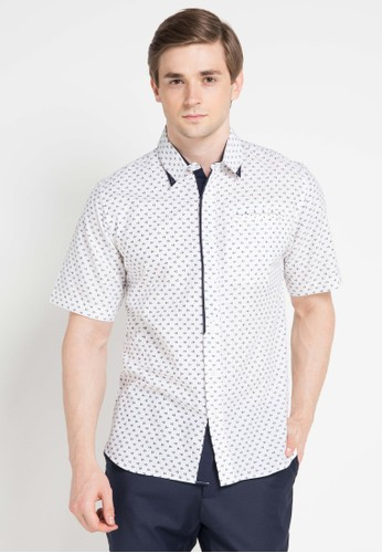 Contempo white and multi Men Shirt S/S Casual CO339AA0VUNFID_1