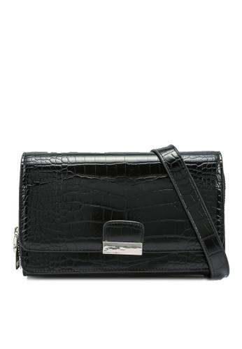 nose black Faux Croco Print Crossbody Bag 11558AC6331005GS_1