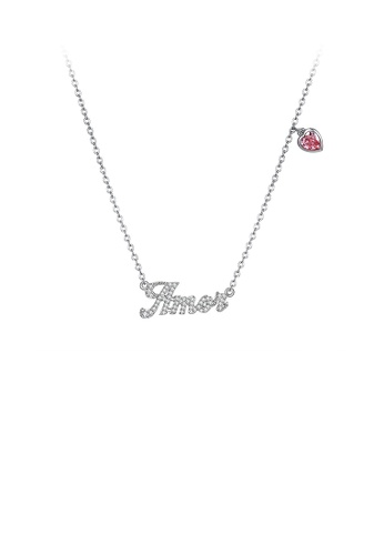 Glamorousky red 925 Sterling Silver Letter Amor and Red Heart Necklace with Austrian Element Crystal DFB96AC1647F77GS_1