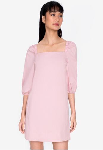 ZALORA BASICS pink Puffed Sleeves Mini Dress 43A67AA659D914GS_1