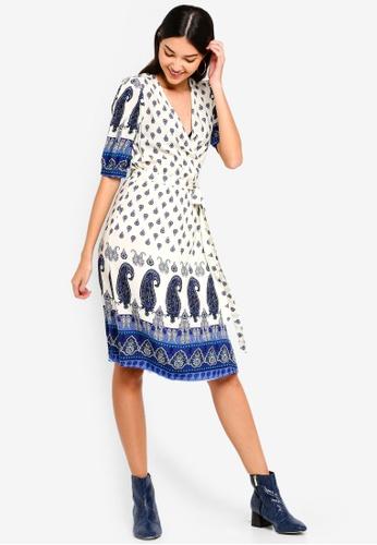 ZALORA white and multi Wrapped Dress 0B4A8AAC993F01GS_1