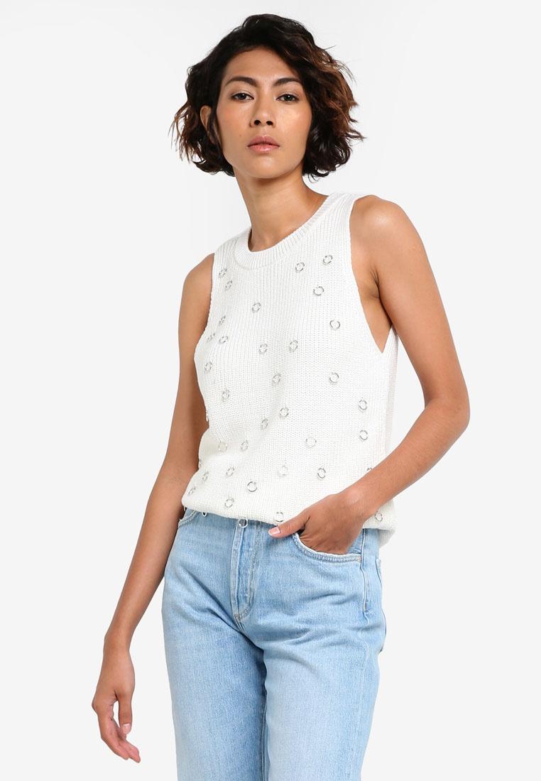 Knit Piercing White White Mango Piercing Top Top Knit Mango YUAzUq