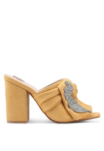 Velvet yellow Embellished Mules 62EABSH6889419GS_1