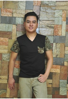 Black V-Neck Shirt with Camo Sleeves and Faux Camo Pocket
