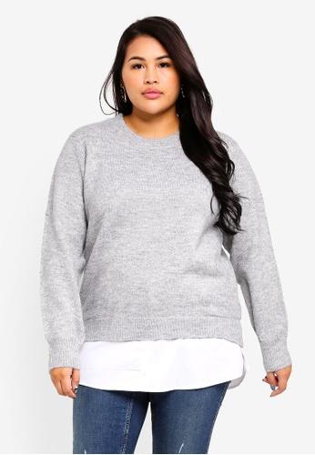 ad2a43d215e Dorothy Perkins grey Plus Size Grey 2 In 1 Jumper BEFBBAA86F326FGS 1