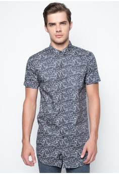 Long-Line Short Sleeved Shirt with Brush Print