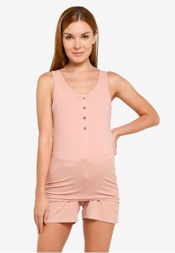 Mama.licious pink Maternity Vilka Lia Pyjama Set 8CB22AA03A0435GS_1