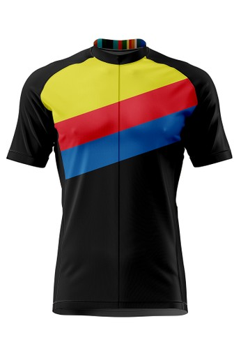 Trijee black and red and yellow and multi Trijee Luis Unisex Cycling Jersey - Black Yellow 548C4AAD2DF65AGS_1