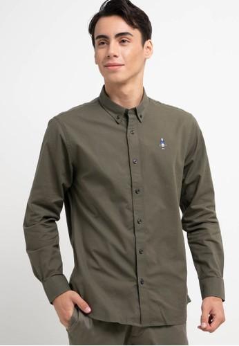 Giordano green Men's Classic Shirt 93338AADAB8CB1GS_1
