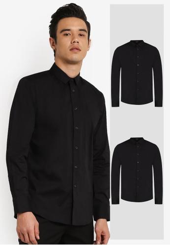 ZALORA black 2 Pack Slim Fit Cotton Poplin Long Sleeve Shirt ZA919AA0FKFYSG_1
