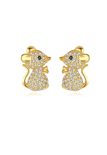 SUNRAIS gold High quality Silver S925 golden mouse earrings 42FA9ACEDE127CGS_1