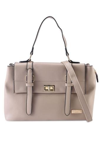 Unisa beige Faux Leather Convertible Satchel Bag 2635EAC21B3832GS_1