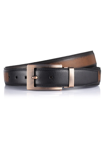ENZODESIGN brown ENZODESIGN Brush Effect Buffalo Leather Casual Pin Buckle Belt 568A6ACCB1CA47GS_1