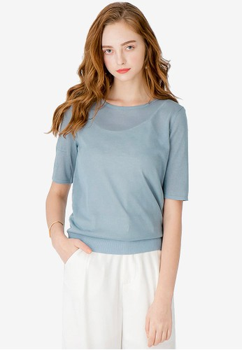 Kodz blue Basic Sleeve Knit Top 87A84AA9FD87DEGS_1