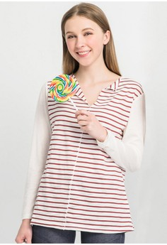 [IMPORTED] Striped Casualness Fresh Basic Top - Red
