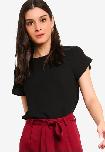ZALORA black Petal Sleeves Shell Top A3E31AA77C7E2EGS_1