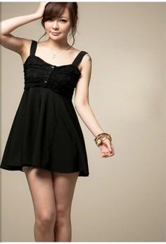 Square Collar Sleeveless Ball Gown Dress