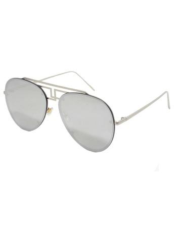 Amora Scarlett Wide Imperial Silver Aviator Eyewear AM058AC0RJ5VMY_1