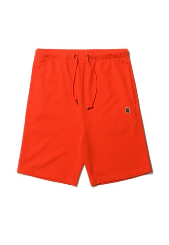 Fingercroxx orange Big foot badge shorts 87CB2AA4A89DDFGS_1