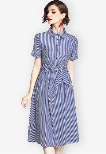 Sunnydaysweety blue Striped A-line Skirt 8664FAA90C9B8DGS_1