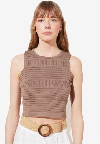 Trendyol beige Knitted Crop Top A7B7DAAE4B6E13GS_1