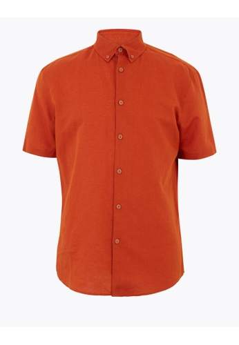 MARKS & SPENCER orange M&S Linen Blend Easy Iron Shirt 53DC0AA11E861DGS_1