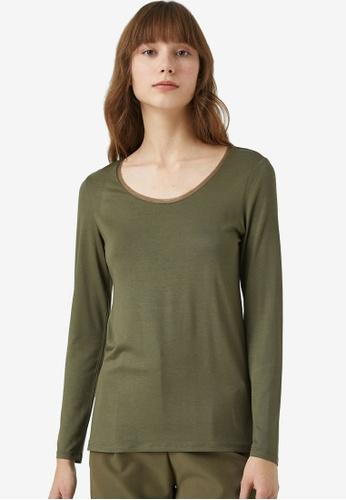 KOTON green Mesh Long Sleeve Top ADAC0AAAD35452GS_1