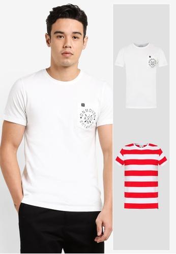 JAXON white and red 2 Pack Plain & Stripe Crew Neck Tee JA219AA0SH16MY_1