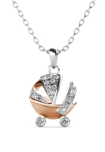 Her Jewellery silver Baby Stroller Pendant -  Embellished with Crystals from Swarovski® 99D47AC2ACCD9BGS_1