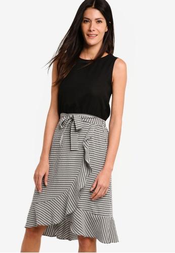 ZALORA black and multi Blouson Dress With Wrap Skirt 009E5AA1C4EA0AGS_1
