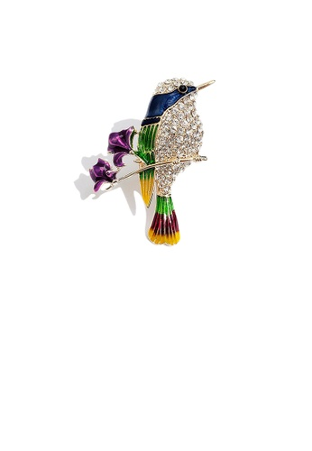 Glamorousky white Fashion and Elegant Plated Gold Enamel Bird Flower Brooch with Cubic Zirconia 21CF6AC3D6FF4EGS_1