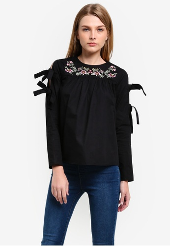 Dorothy Perkins black Embroidered Tie Sleeve Top DO816AA0RV30MY_1
