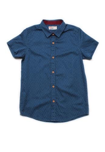 Mini Moley navy Sprinkle Print Boy's Short Sleeve Shirt F716CKA4A23ADCGS_1