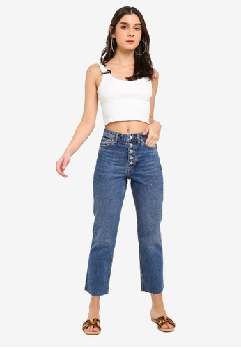 4c8c2bbb4b Buy TOPSHOP Indigo Button Fly Straight Jeans Online on ZALORA Singapore