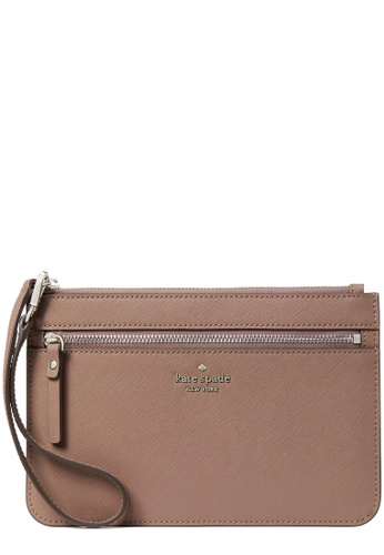 Kate Spade beige and brown Kate Spade Laurel Way Tinie Wristlet in Dusk Cityscape E5012AC8316A2FGS_1