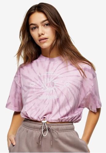 TOPSHOP pink Petite Pink Tie Dye T-Shirt A95E7AAAB760C6GS_1