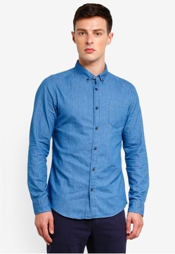 Burton Menswear London 藍色 Mid Wash Long Sleeve Denim Shirt 38DB8AA9EC99FEGS_1