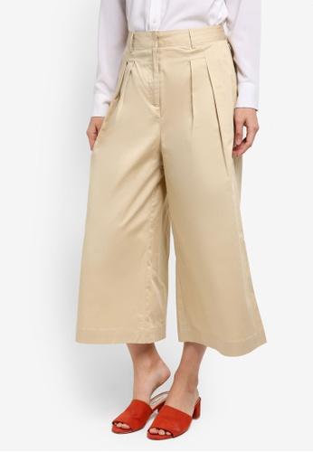 ZALORA beige Tailored Cotton Culottes 09907AAF7A8345GS_1