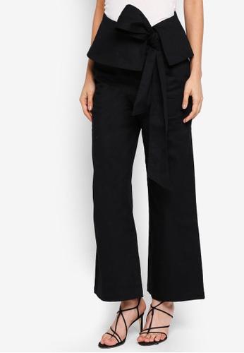 Zalia black Lace Up Detail Straight Up Pants 8FD32AA0FCA259GS_1