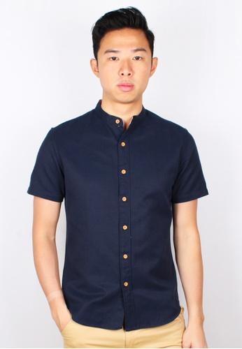 Moley navy Classic Mandarin Collar Short Sleeve Shirt 4D9EBAA738781DGS_1