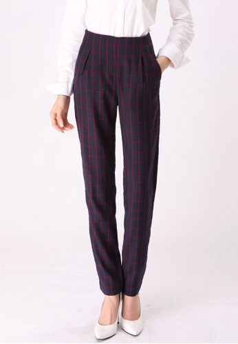 Les Premieres red and blue Checked Peg Trousers AE1B6AAD4410B2GS_1