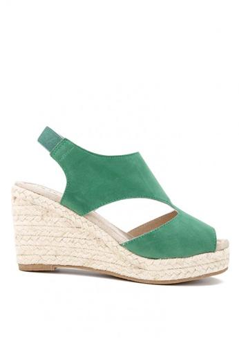 KissXXX 綠色 羅馬風糖果色系絨面舒適麻編坡跟涼鞋 KI603SH09KDKTW_1