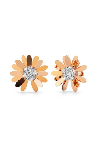 Bullion Gold gold BULLION GOLD Morning Daisy with Created Diamonds Stud Earrings in Rose Gold Layered Steel Jewellery F0C7EAC6316C48GS_1