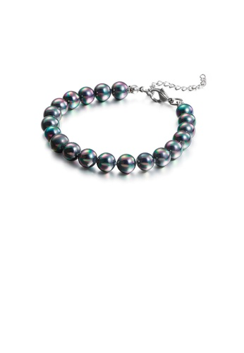 Glamorousky silver Fashion and Elegant Geometric Round Beads Color Imitation Pearl 316L Stainless Steel Bracelet 49C13ACC9D6113GS_1