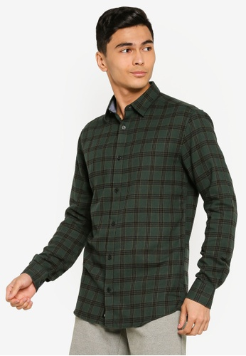 Only & Sons green Emil Long Sleeve Flannel Shirt 3008BAA9A10066GS_1