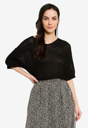 GLOBAL WORK black Short Sleeve Knit Pullover 26344AAF5B399CGS_1