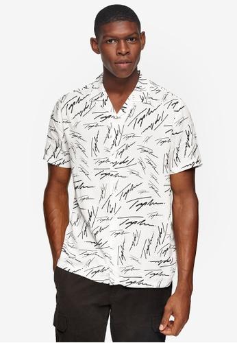 Topman white Topman Signature White Logo Revere Shirt 688BFAA7C7A422GS_1
