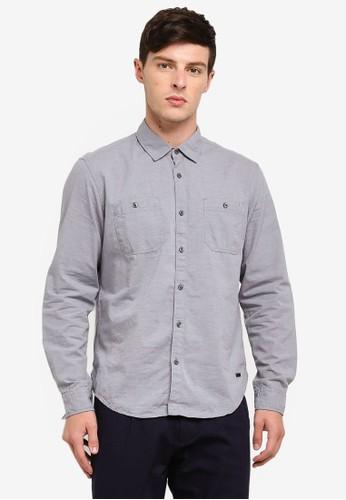 ESPRIT blue Woven Long Sleeve Shirt 89477AA1320CDBGS_1